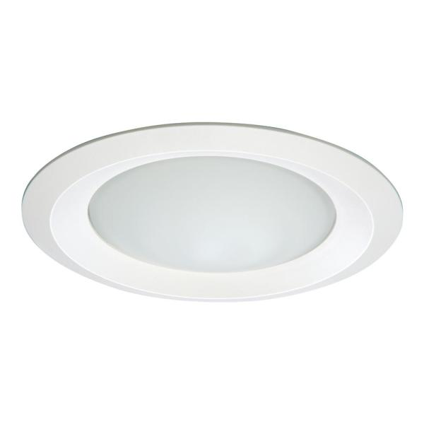 Halo E26 Series 6 In White Recessed Ceiling Light Fixture Trim With Frosted Glass Lens Wet Rated Shower Light 6150wh The Home Depot