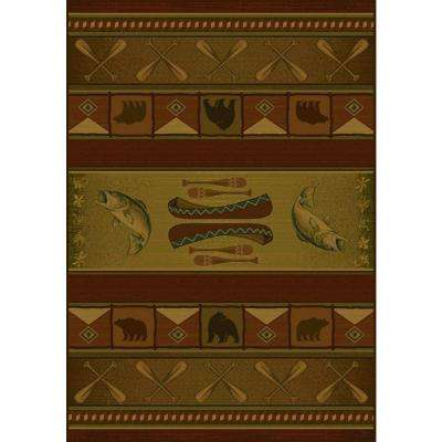 Colorado Lodge Beige/Rust 5 ft. 3 in. x 7 ft. 6 in. Area Rug