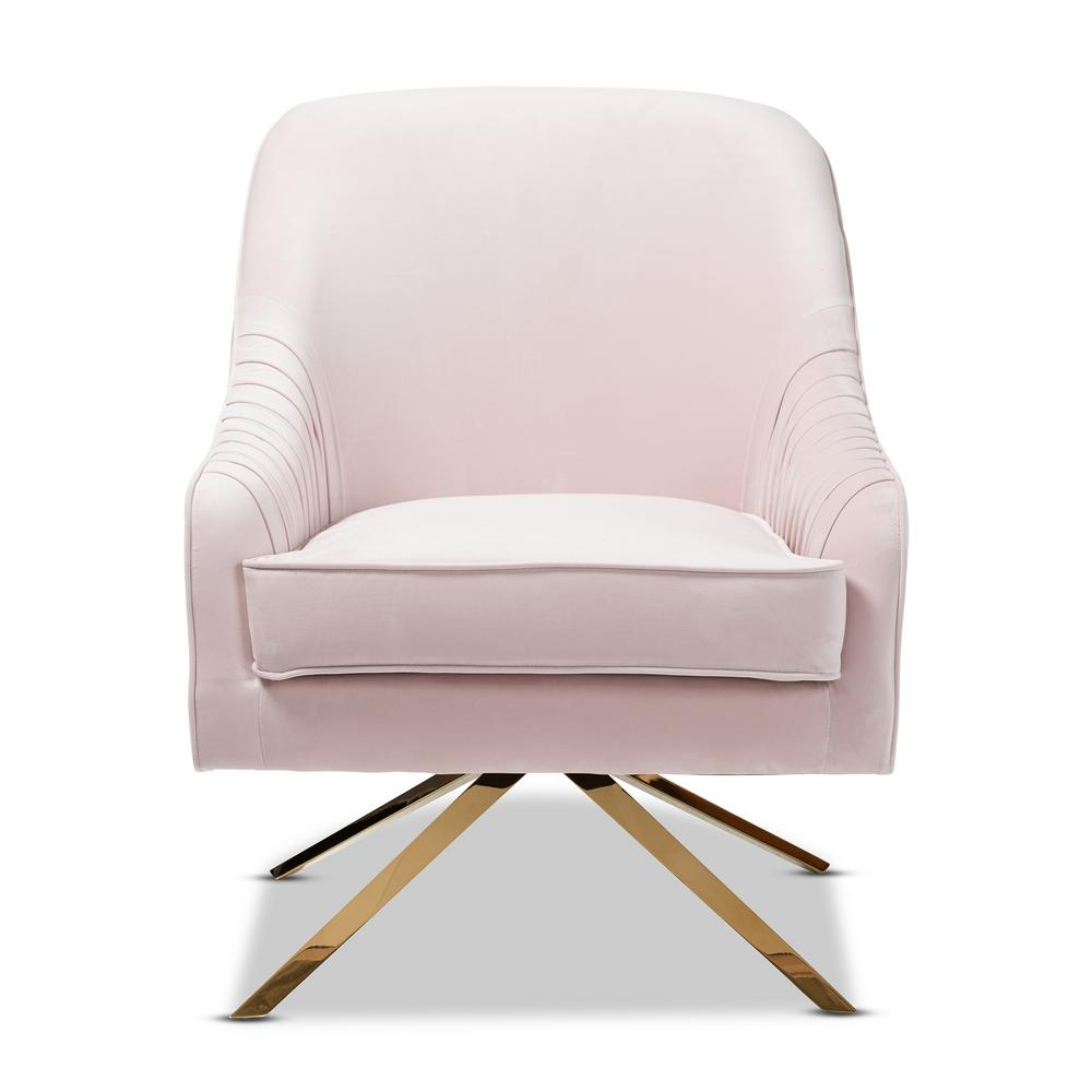 Baxton Studio Amaya Light Pink And Gold Fabric Lounge Chair