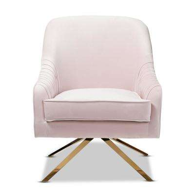 Amaya Light Pink and Gold Fabric Lounge Chair