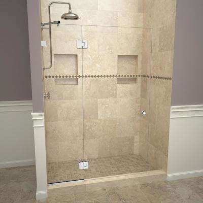 2000V Series 78 in. W x 76 in. H Semi-Frameless Pivot Shower Door with Fixed Panel in Polished Chrome