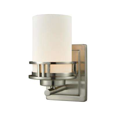 Ravendale 1-Light Brushed Nickel With Opal White Glass Bath Light