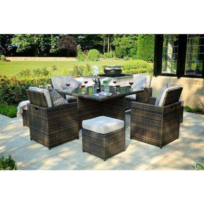 Cubo Variegated Brown 9-Piece Wicker Square Outdoor Dining Set with Beige Cushions