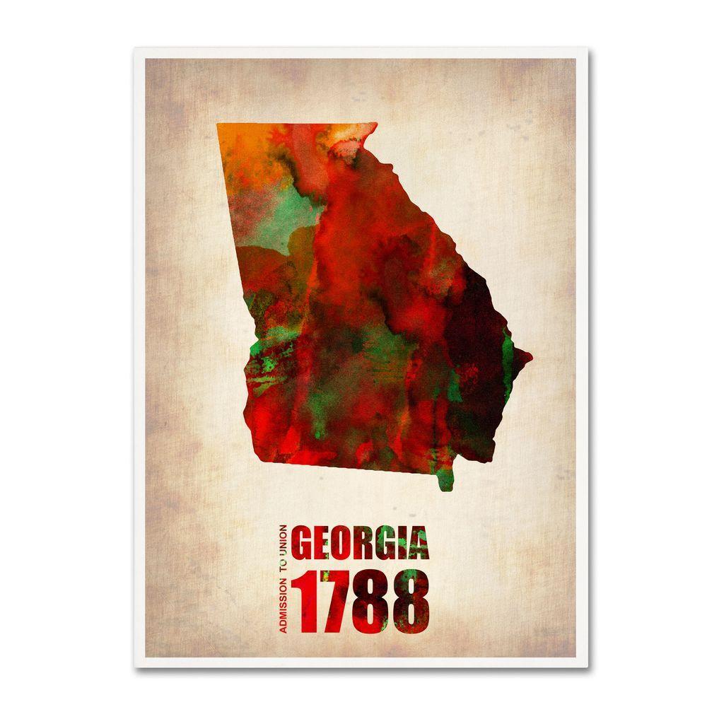 32 in. x 24 in. Georgia Watercolor Map Canvas Art