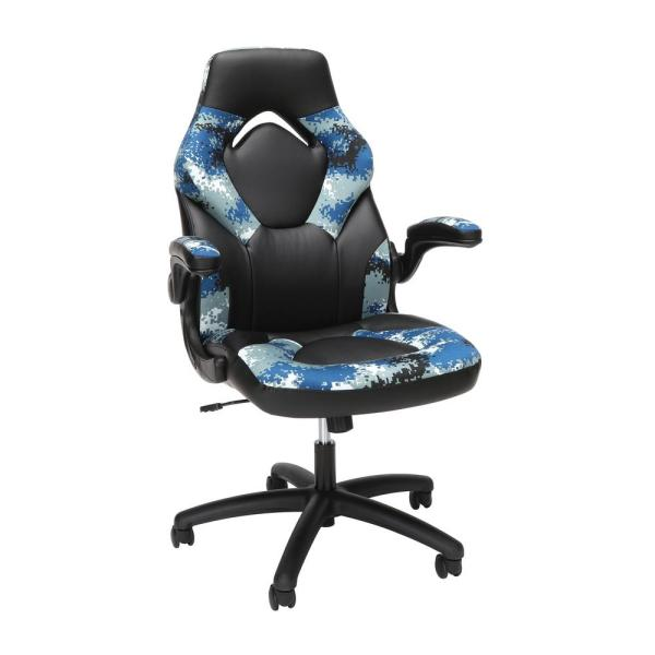Ofm Essentials Collection Racing Style Bonded Leather Gaming Chair In Arctic Camo Ess 3085 Arc Ess 3085 Arc The Home Depot