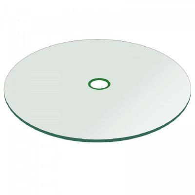 54 in. Clear Round Patio Glass Table Top, 1/4 in. Thickness Tempered Flat Edge Polished W/ 2 in. Hole