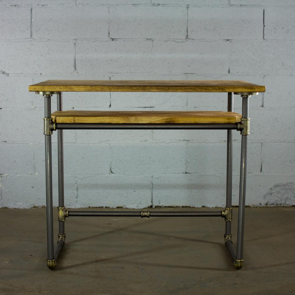 Os home and office furniture rustic bronze industrial pipe desk with lower shelf and reclaimed aged