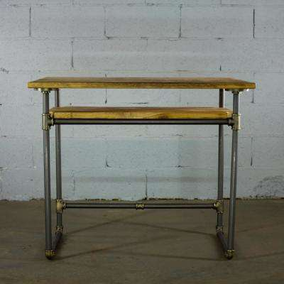 Rustic Bronze Industrial Pipe Desk with Lower Shelf and Reclaimed Aged Wood