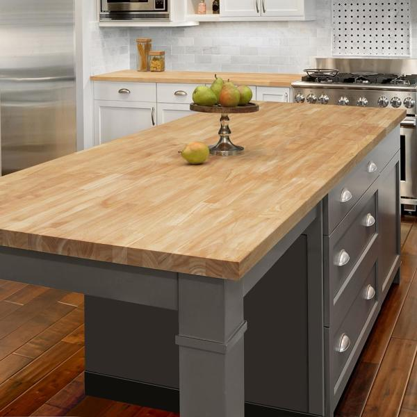 Hampton Bay Unfinished Hevea 6 Ft L X 39 In D X 1 5 In T Butcher Block Island Countertop Rw3974 The Home Depot