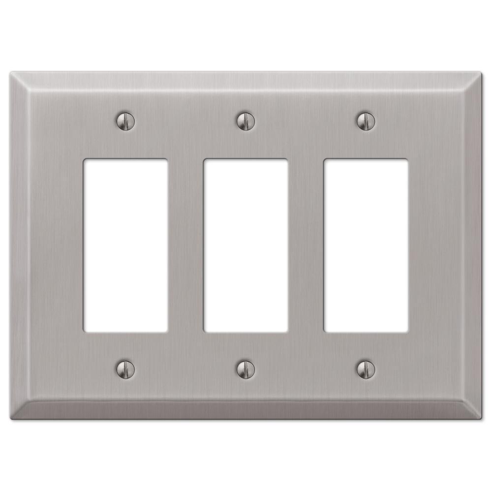 Oversized 3 Gang Rocker Steel Wall Plate - Brushed Nickel