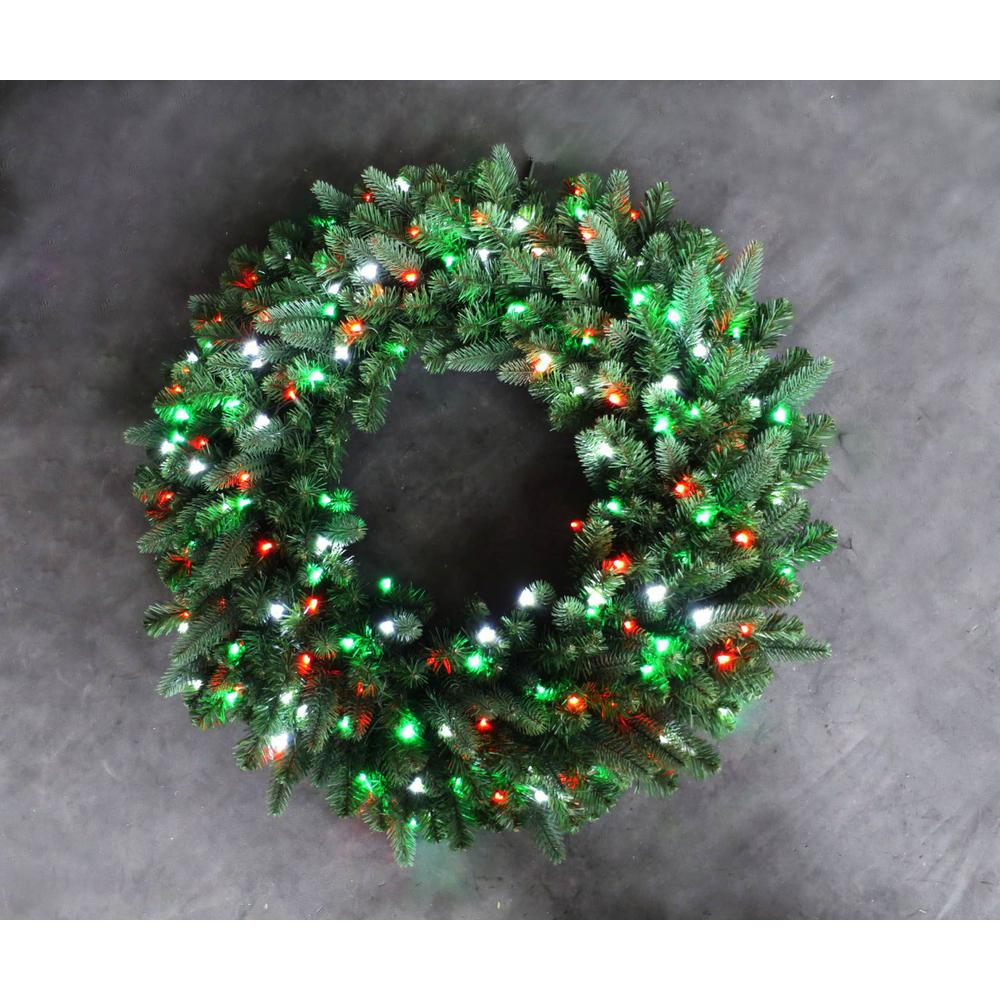 36 in. LED Pre-Lit Artificial Christmas Wreath with Micro-Style Red, Green