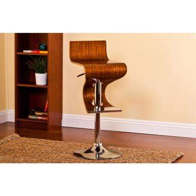 Bentwood Walnut Modern Adjustable Swivel Bar Stool with Curved Seat and Back