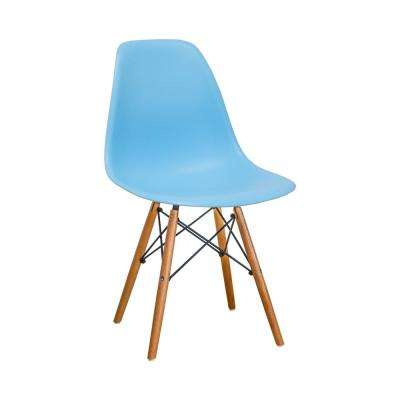 Paris Tower Blue Dining Side Chair with Wood Legs (Set of 2)