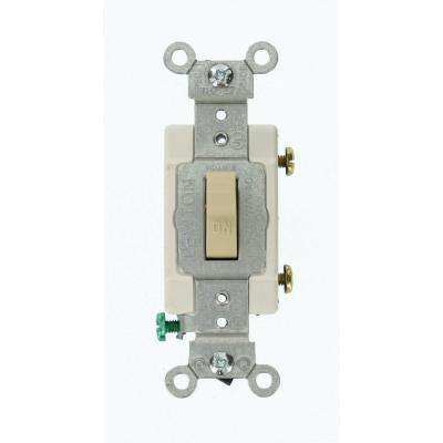 15 Amp 120/277-Volt 1-Pole Commercial Grade AC Quiet Toggle Switch, Ivory