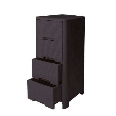Rattan Style 4 Drawer Unit in Brown