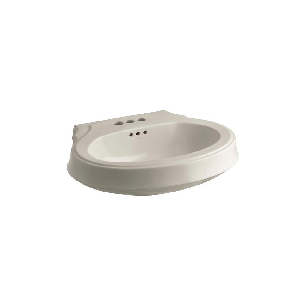 KOHLER Leighton 4-1/8 in. Pedestal Sink Basin in Sandbar-DISCONTINUED