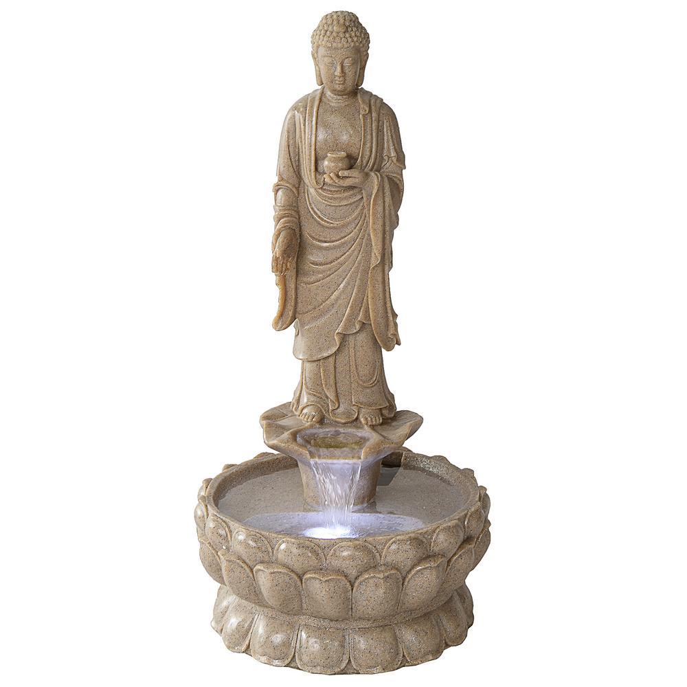 Earth Witness Buddha Large Stone Bonded Resin Illuminated Garden Fountain