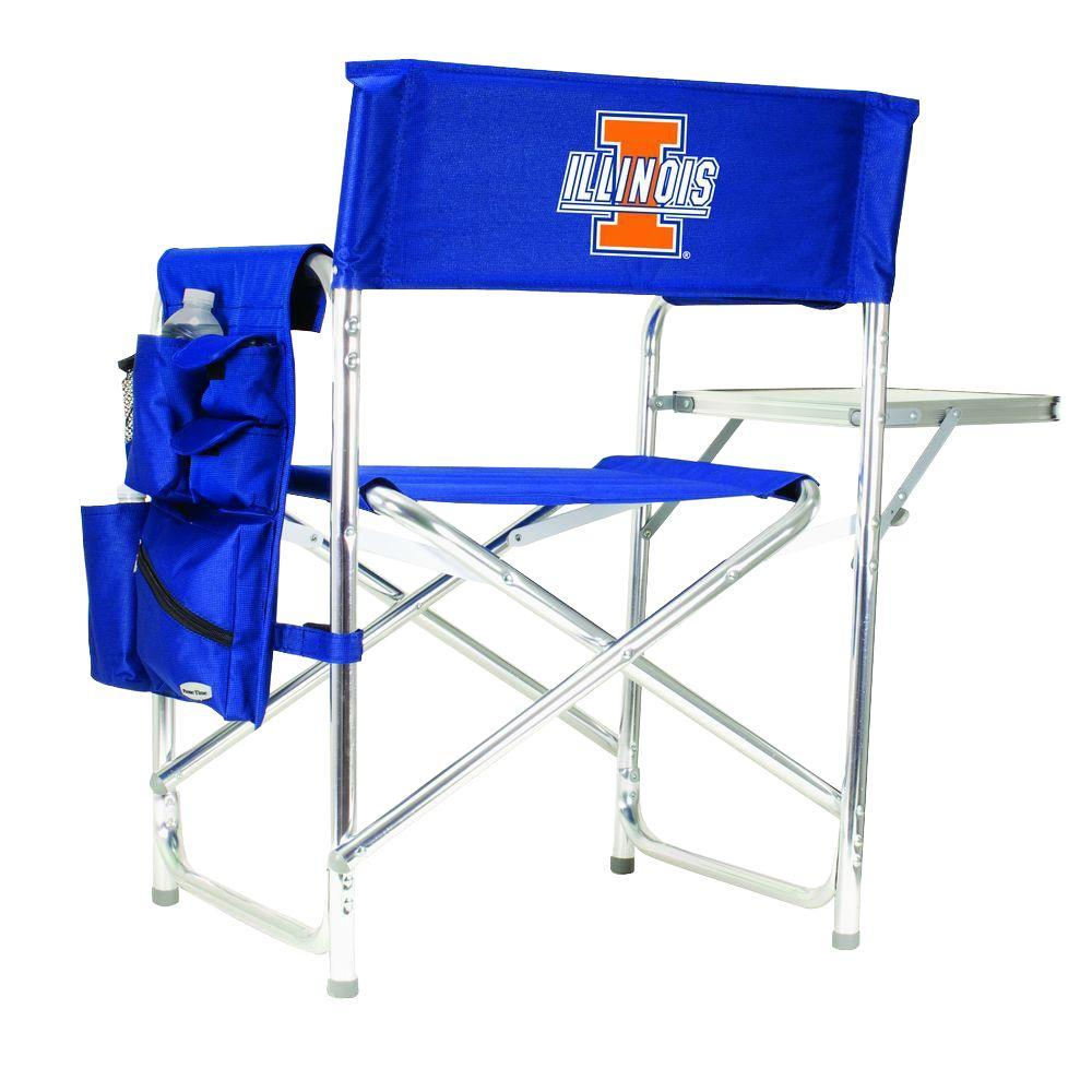 University of Illinois Navy Sports Chair with Digital Logo