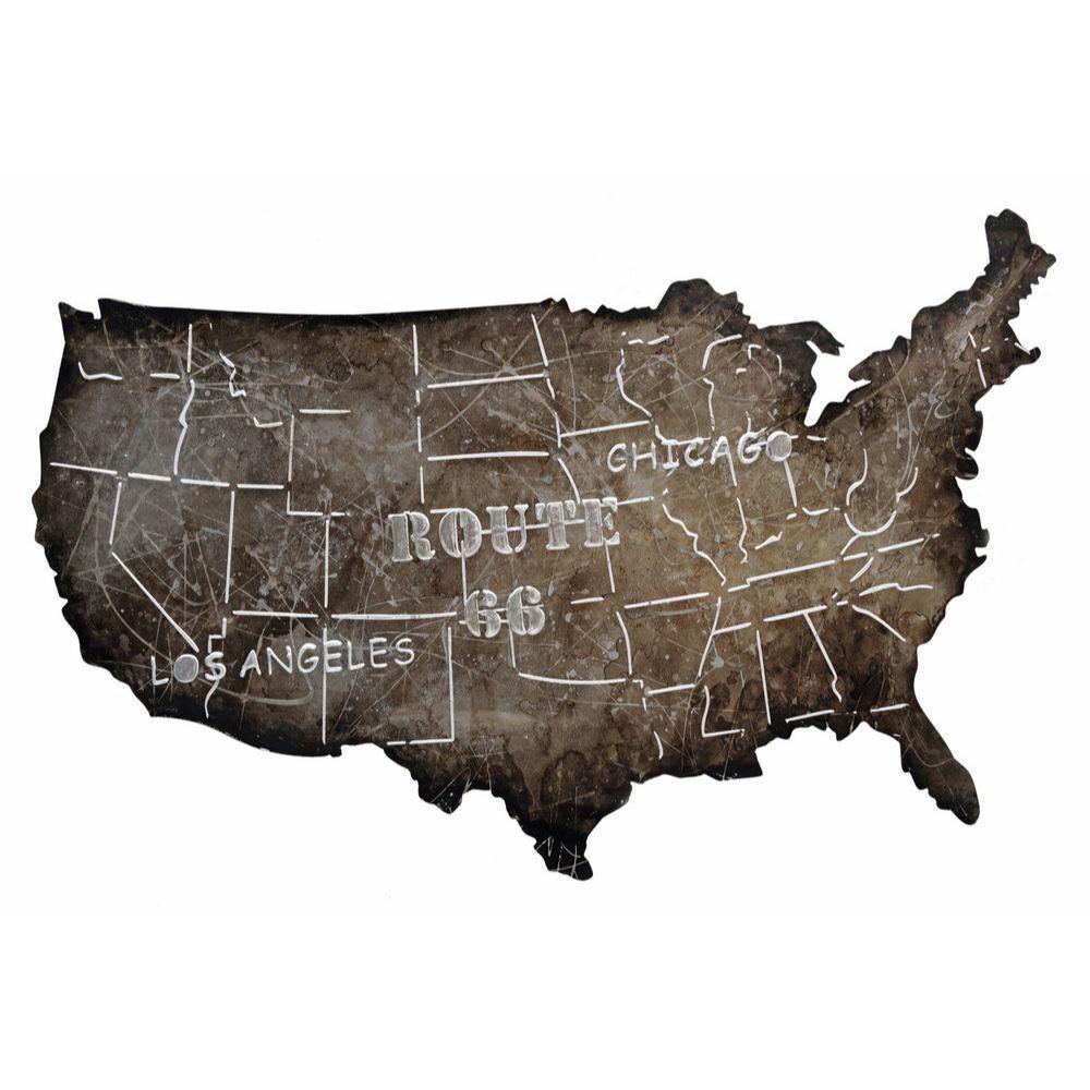 Brown USA Road Trip Map Metal Art
