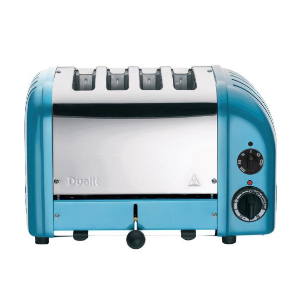 Dualit New Gen 4-Slice Azure Blue Wide Slot Toaster with Crumb Tray