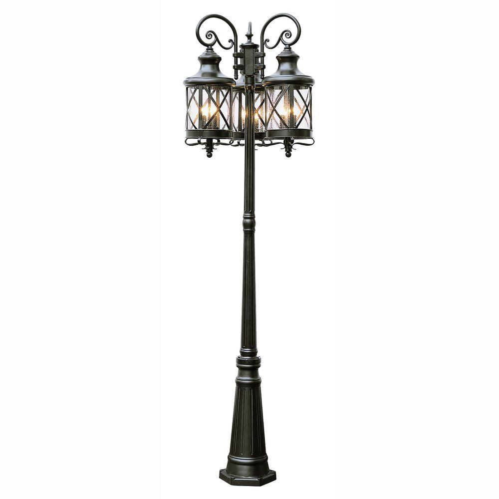 Bel Air Lighting Carriage House 6-Light Outdoor Oiled Rubbed Bronze Post Lantern with Seeded Glass