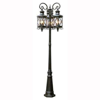 Carriage House 6-Light Outdoor Oiled Rubbed Bronze Post Lantern with Seeded Glass