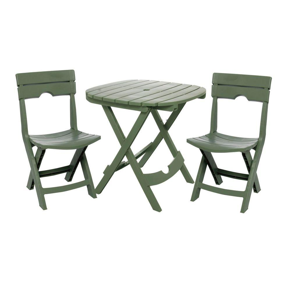 Adams Manufacturing Quik Fold Sage 3 Piece Resin Plastic Outdoor Bistro  Cafe Set