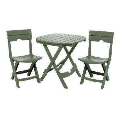 Quik-Fold Sage 3-Piece Resin Plastic Outdoor Bistro Cafe Set