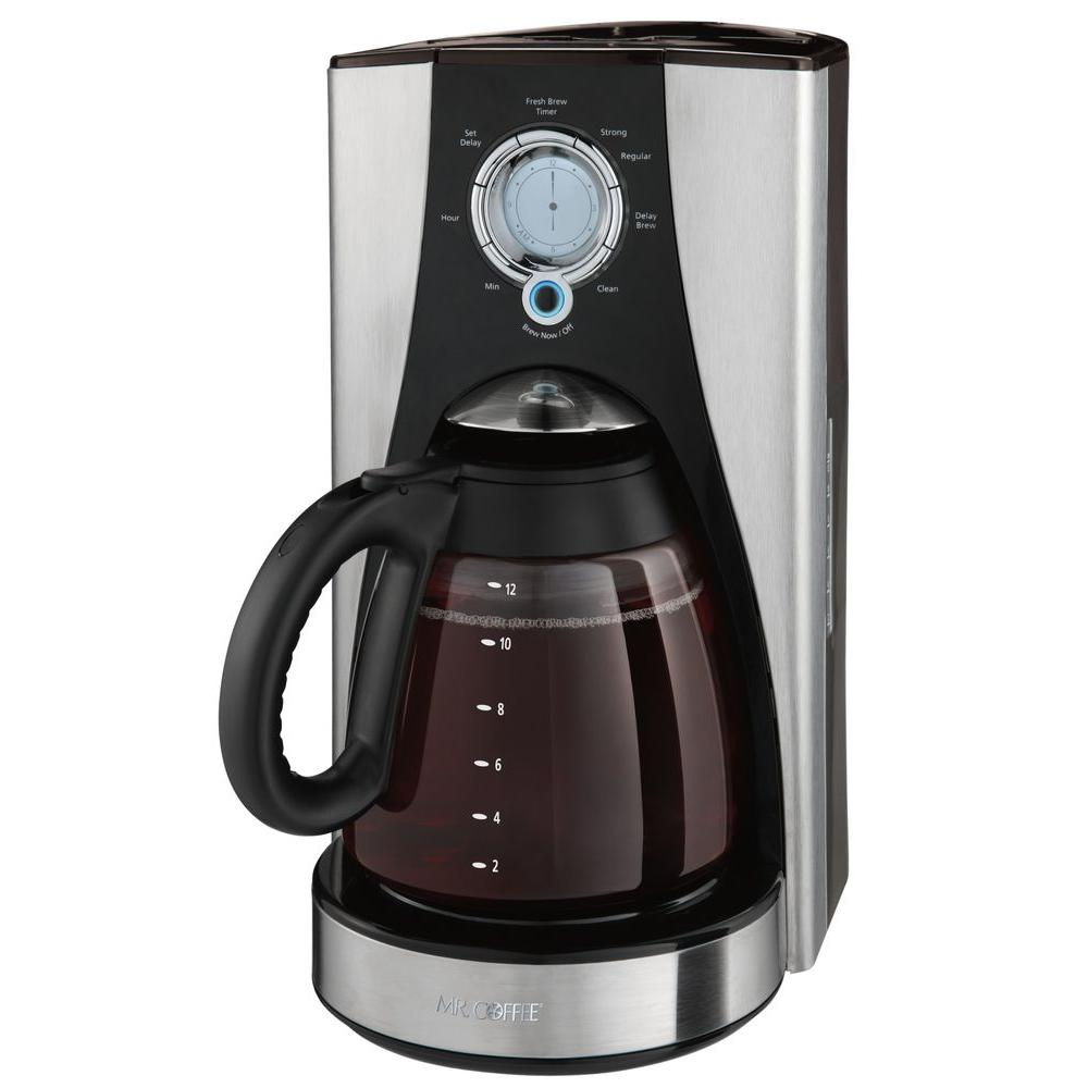 Mr. Coffee 12-Cup Programmable Coffee Maker in Stainless Steel-DISCONTINUED