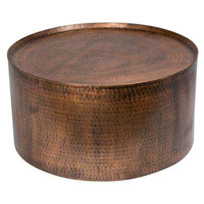 Rotonde Antiqued Copper Industrial Metal Coffee Table