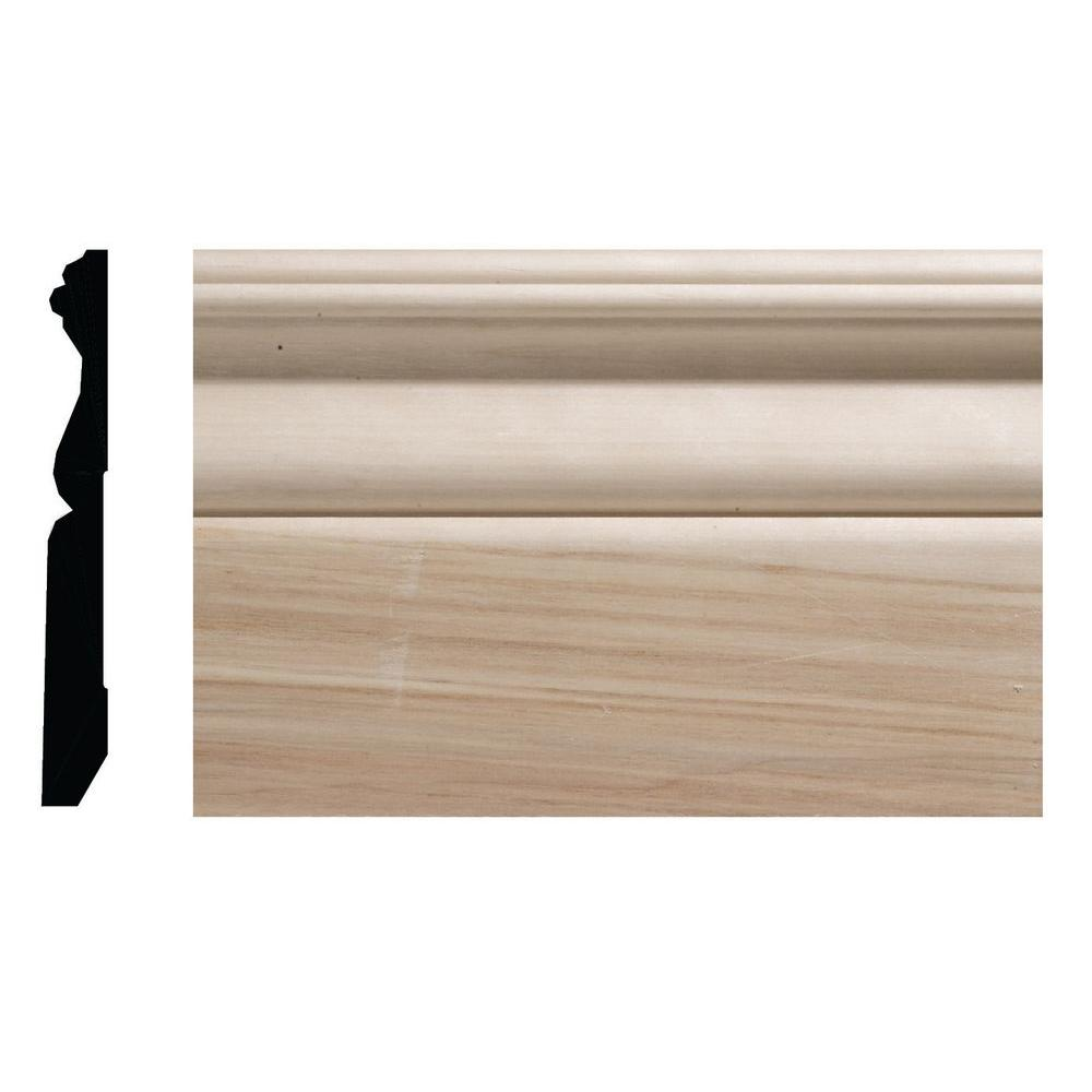 1/2 in. x 4-1/4 in. White Hardwood Colonial Baseboard Moulding