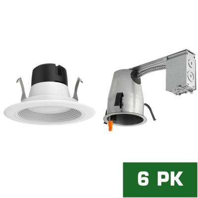 4 in. LED Recessed Remodel Housing with Standard Retrofit White LED Trim Kit, 2700K (6-Pack)