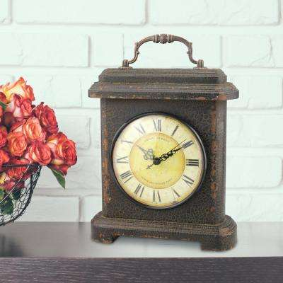 11 in. x 8 in. Graphite Wood and Metal Mantel Clock