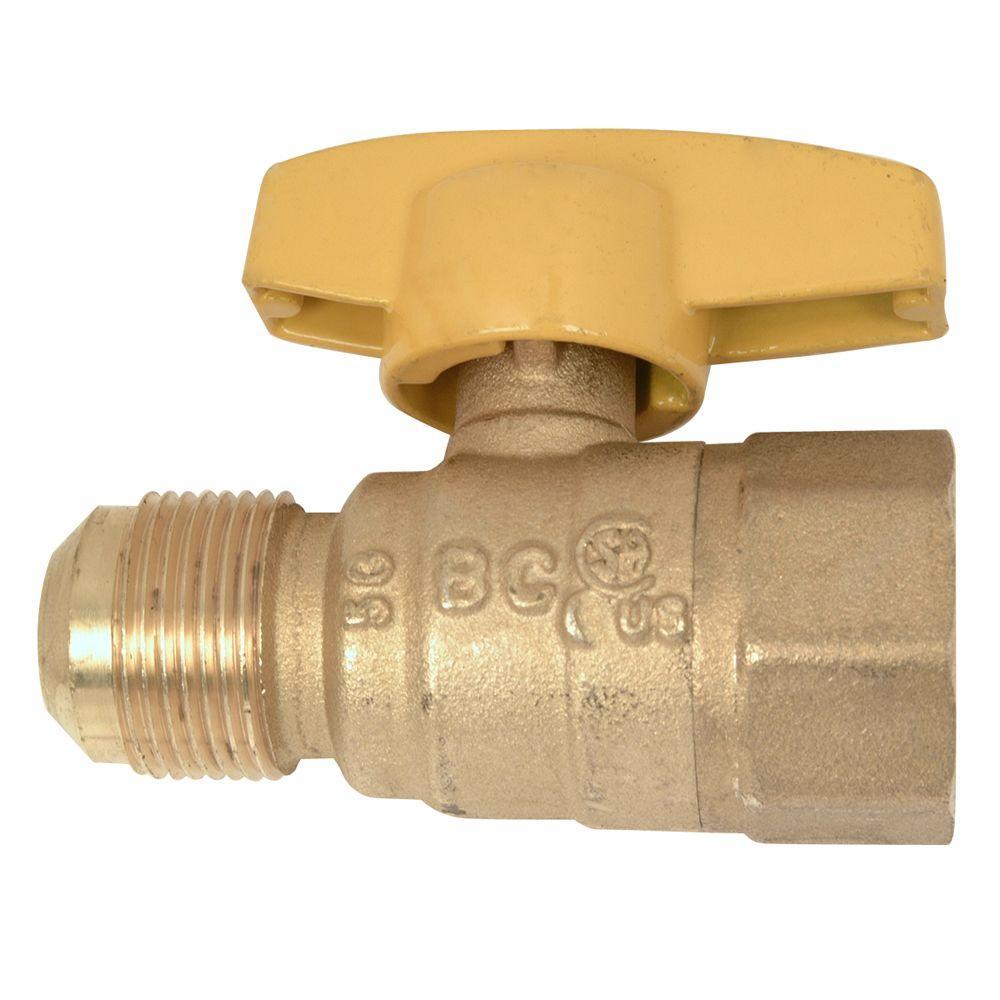 Brasscraft 5/8 inch OD Flare (15/16-16 Thread) x 3/4 inch FIP Gas Ball Valve by BrassCraft