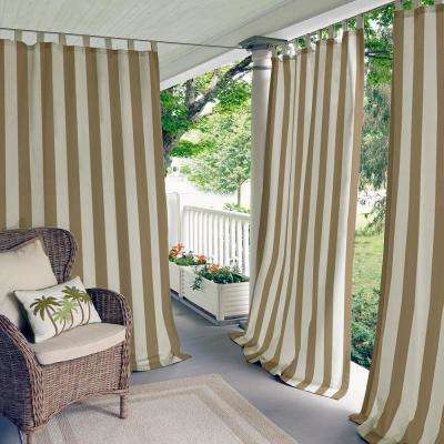 Highland Stripe 50 in. W x 84 in. L Indoor/Outdoor Tab Top Window Curtain Natural