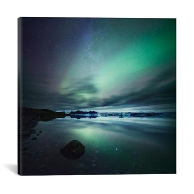 """""""Aurora Borealis (Northern Lights) Over Glacial Lagoon, Iceland"""" by Matteo Colombo Canvas Wall Art"""