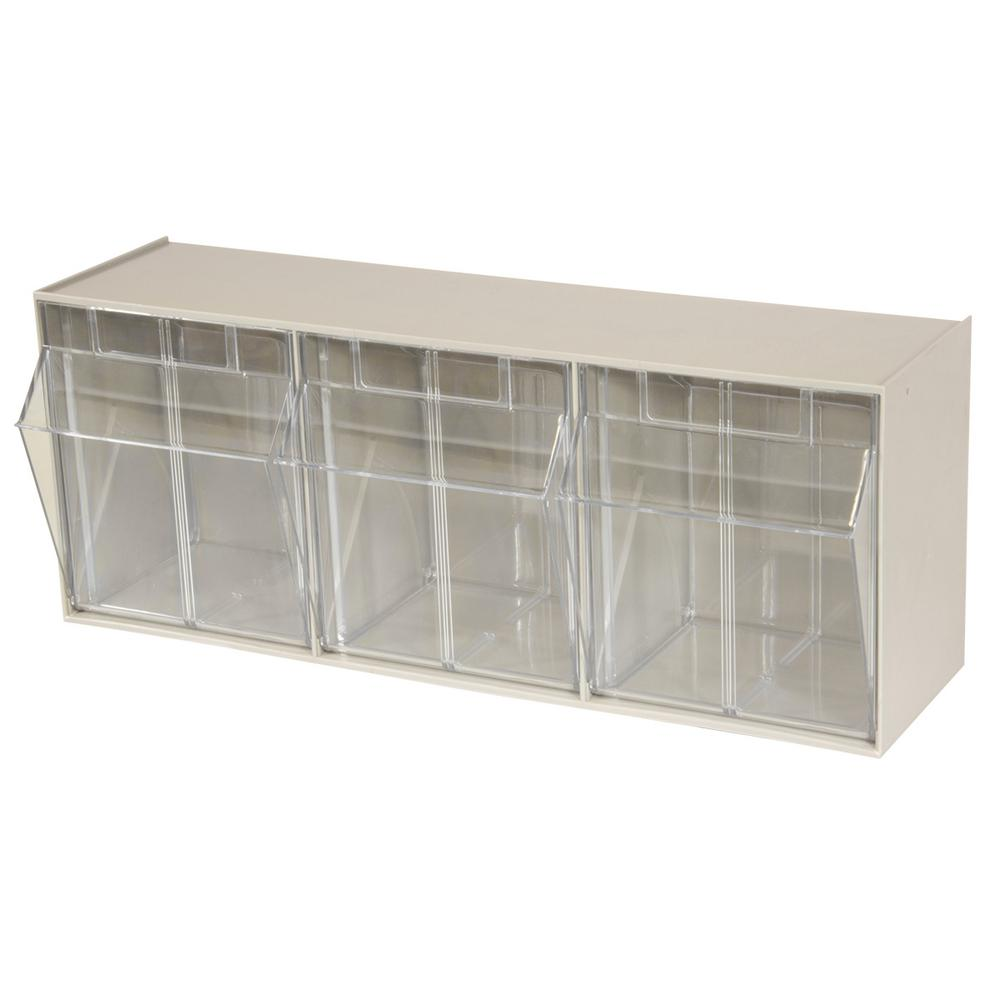 Akro Mils Tiltview Cabinet 3 Compartment 30 Lb Capacity Small Parts Organizer Storage Bins In Tan Clear