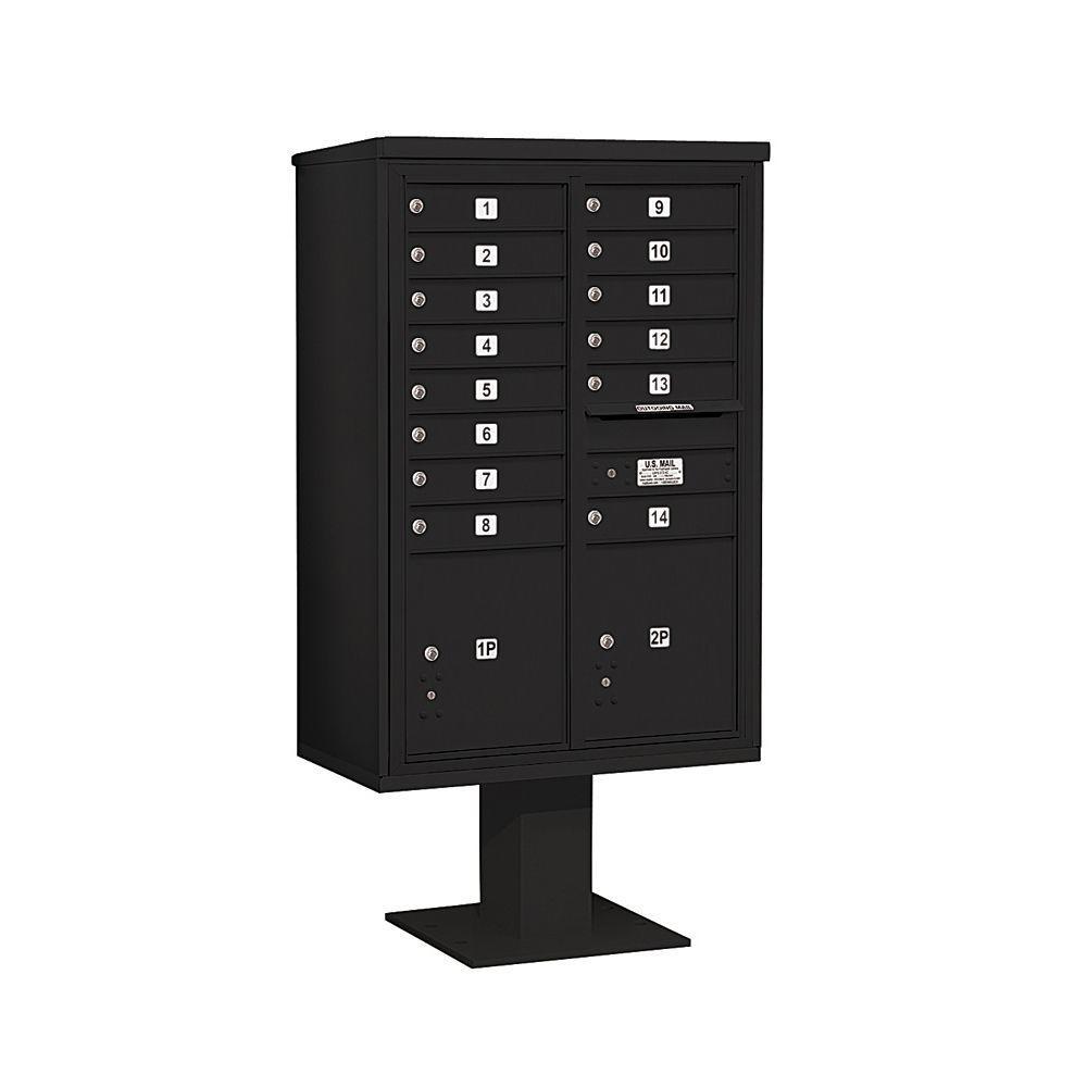 3400 Series 63-1/4 in. 13 Door High Unit Black 4C Pedestal Mailbox with 14 MB1 Doors/2 PL5