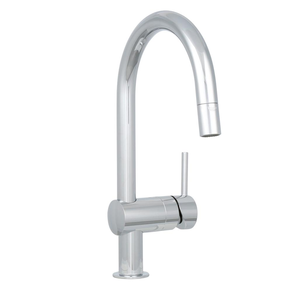 Grohe minta single handle pull down sprayer kitchen faucet for Grohe faucets