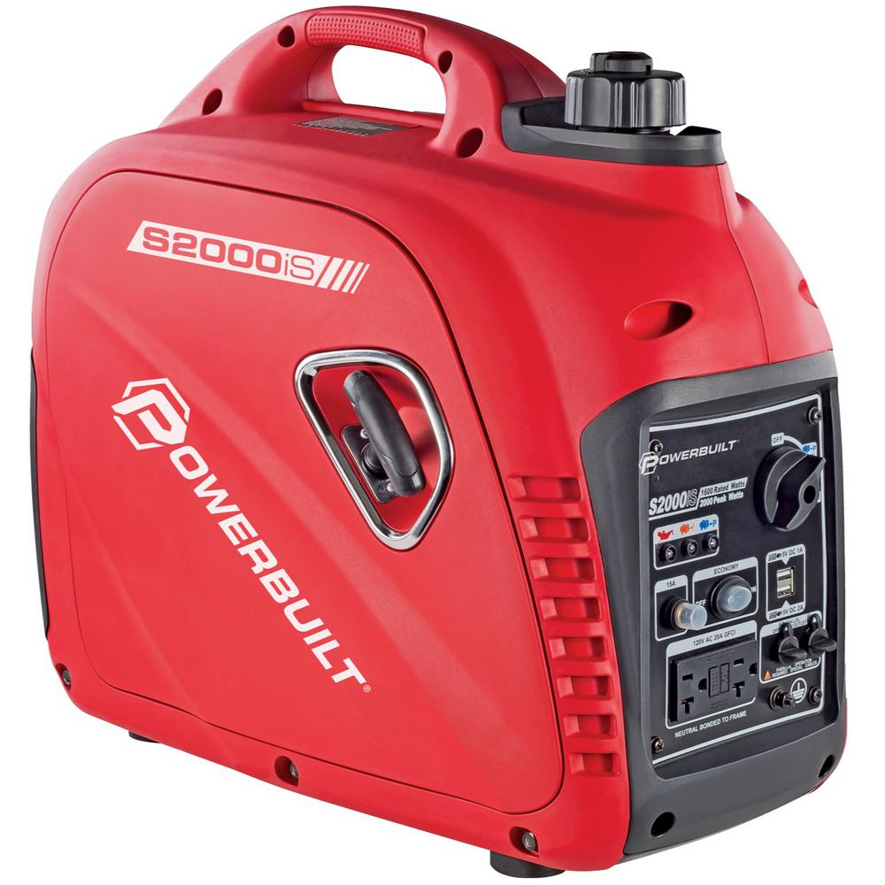 Powerbuilt 2,000-Watt Portable Gasoline Pull Start Powered Inverter Generator with Quiet Operation and Low THD