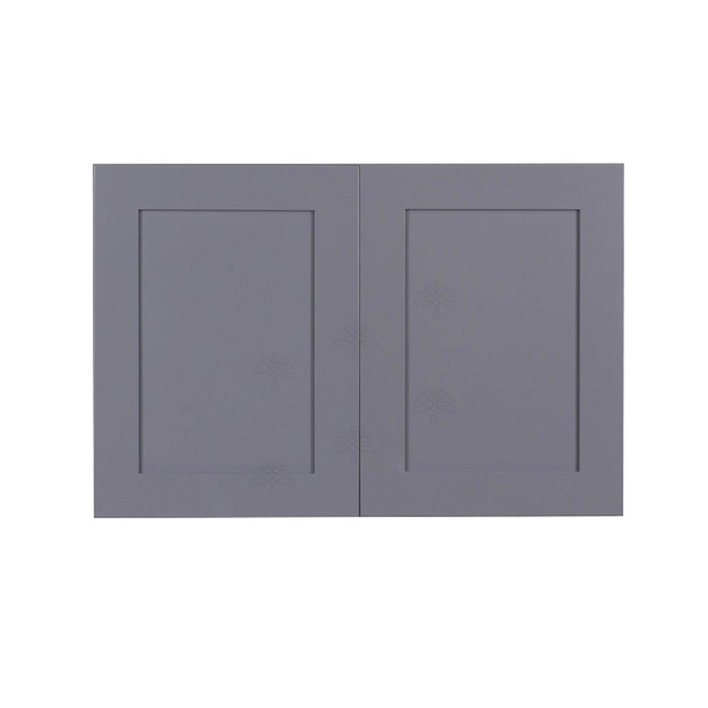 LIFEART CABINETRY Shaker Assembled 33x24x12 in. 2-Door Wall Cabinet with 1-Shelves in Gray