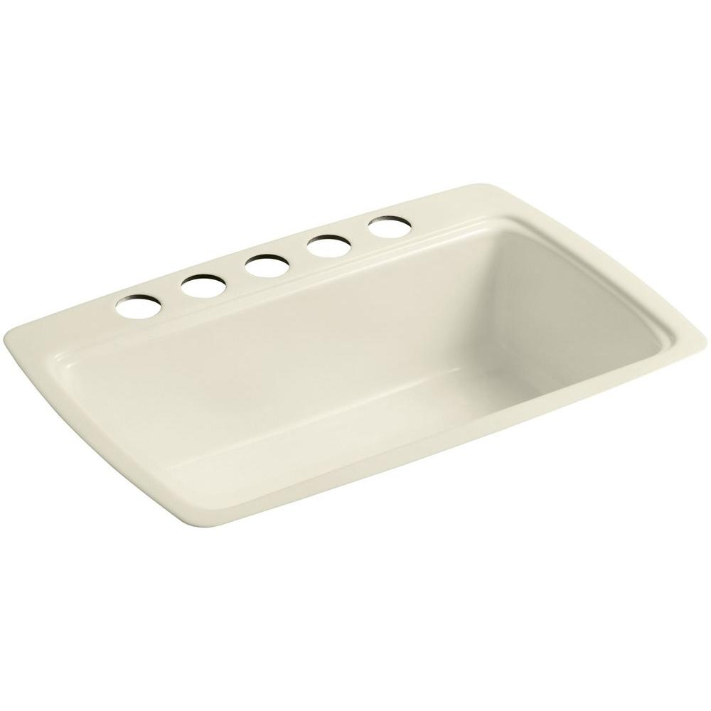 KOHLER Cape Dory Undermount Cast-Iron 33 in. 5-Hole Single Bowl Kitchen Sink in Cane Sugar was $785.14 now $392.57 (50.0% off)