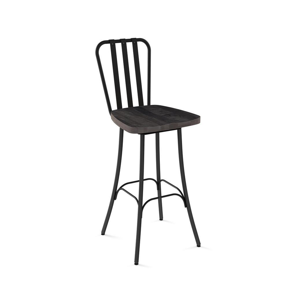Pleasant Bond 26 In Black Metal Grey Wood Counter Stool Andrewgaddart Wooden Chair Designs For Living Room Andrewgaddartcom