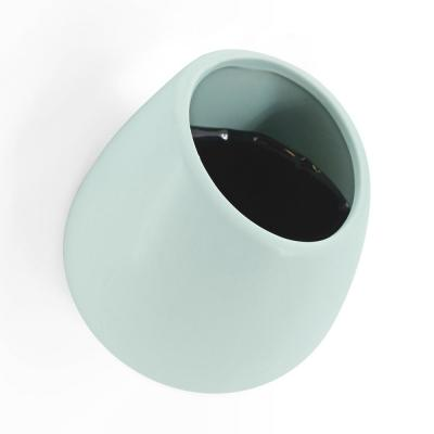 Round 5-1/2 in. x 6 in. Mint Ceramic Wall Planter
