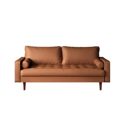 Lincoln 69.7 in. Brown Faux Leather 3-Seater Lawson Sofa with Removable Cushions