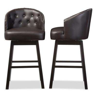Avril Brown Faux Leather Upholstered 2-Piece Bar Stool Set