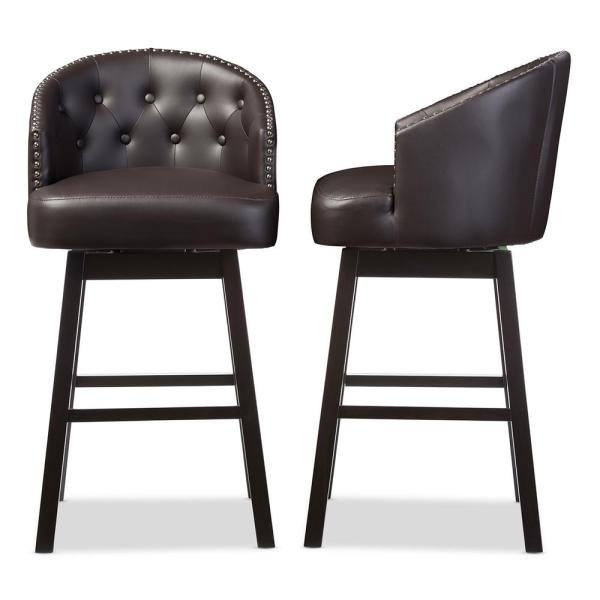 Avril Brown Faux Leather Upholstered 2 Piece Bar Stool Set