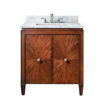 Brentwood 31 in. W x 22 in. D x 35 in. H Vanity in New Walnut with Marble Vanity Top in Carrera White and Basin