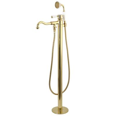 Kaiser Single-Handle Floor-Mount Roman Tub Faucet with Hand Shower in Polished Brass