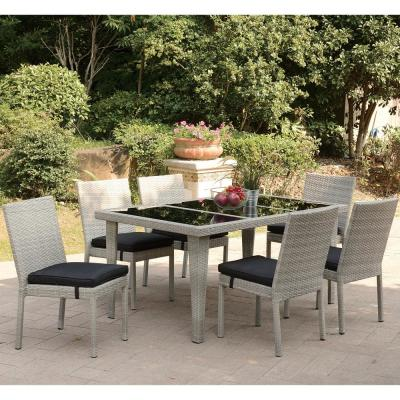 Narcao 7-Piece Wicker Outdoor Patio Dining Set with Brown Seat Cushions